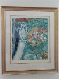 """Le Bouquet de la Mariée"" nicely framed/matted Marc Chagall signed/numbered 632/750."