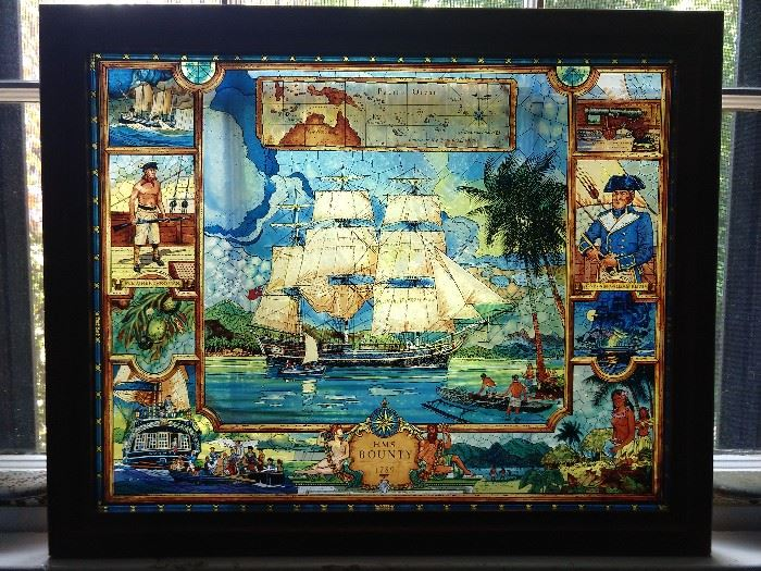 Vintage stained glass panel of the H.M.S. Bounty 1789.
