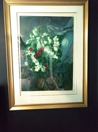 """Le Bouquet Aux Amoureux Volants"" nicely framed/matted Marc Chagall signed/numbered 708/750."