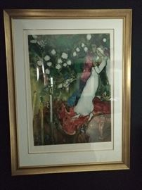 """Three Candles"" nicely framed/matted Marc Chagall signed/numbered 438/750."