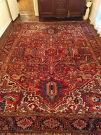 "AMAZING vintage Persian Heriz rug, 100% wool face, hand woven, measures 9' 2"" x 12' 8""."