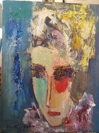 Original artist signed iconic oil on canvas portrait, by Russian artist Murat Kaboulov.