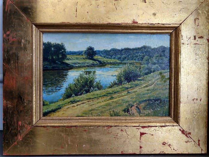 "Original  oil on canvas landscape, by Russian artist signed ""HG"" 1992."