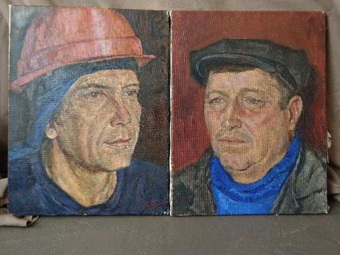 Wonderful pair of portraits of blue collar Russian workers, by Rif Abdullin, 1986.