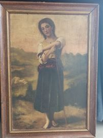 Original 19th century oil on canvas of peasant girl. Next pic is the reverse - you KNOW it's old!