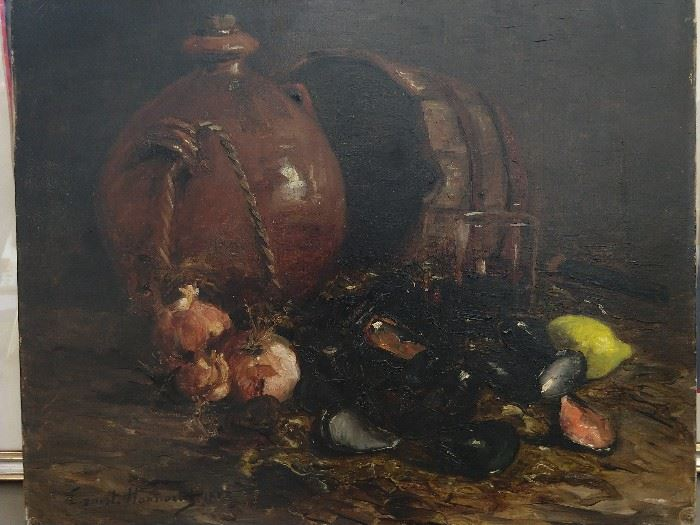 Well executed original oil on canvas seafood still life, 1888, by listed French artist, Ernest Honnorat.                                                                                                      This ain't Captain D's!