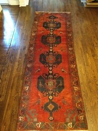 "Vintage hand woven Persian Viss runner, 100% wool face, measures 3' 6"" x 10' 2""."