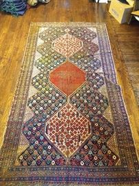 "Vintage hand woven Afghan tribal gallery runner, 100% wool face and warp, measures 9' 7"" x 5' 4""."
