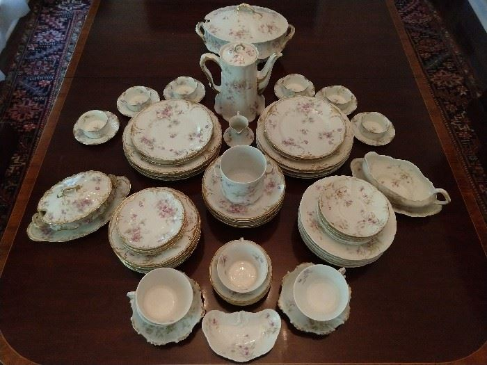 76-Piece set of vintage French Limoges Theodore Haviland china - next pic is a close-up of the purple flowers.