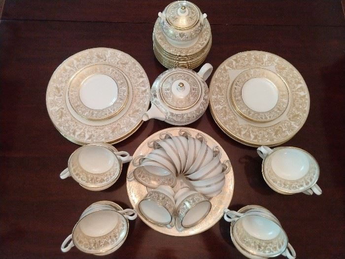 "48-piece set of Wedgwood ""Gold Florentine"" (W 4219) china; produced form 1961 - 1986."