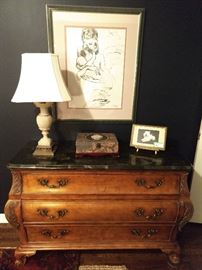 "3-drawer French bombe chest, vintage alabaster table lamp, nicely framed/mated Picasso print and a Italian Florentine framed ""Fifi"" poodle, on stand.                      LOVE Fifi!"