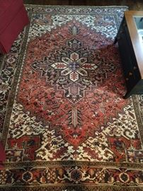 "Vintage hand woven Persian Heriz rug, 100% wool face, measures 7' x 9' 6""."
