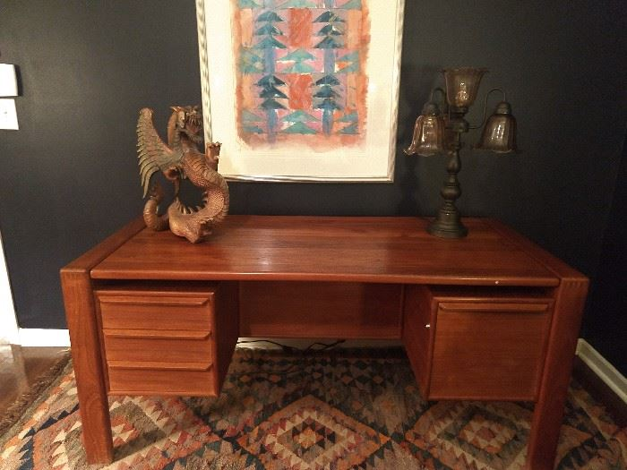 Vintage Danish 4-drawer teak desk, with hand-carved wooden dragon. Contemporary watercolor, signed C. Saunders, 1985