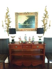 Nice mahogany library shelf, with finely detailed Asian porcelains, FABBY pair of vintage Italian gilt wood 3-light sconces and pair of antique French bronze/marble table lamps.