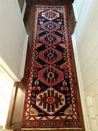"Vintage hand woven Persian Viss runner, 100% wool face, measures 2' 5"" x 8' 6""."