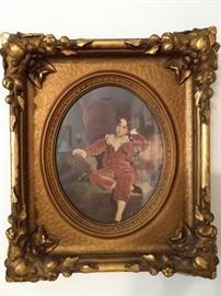 One of a pair of very nicely painted vintage plaster frames, with bored boy wondering when his Father will ever regale him with the facts of life.
