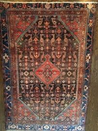 "Vintage hand woven Persian Malayer Sarouk rug, 100% wool face, measures 4' 2"" x 6' 2""."