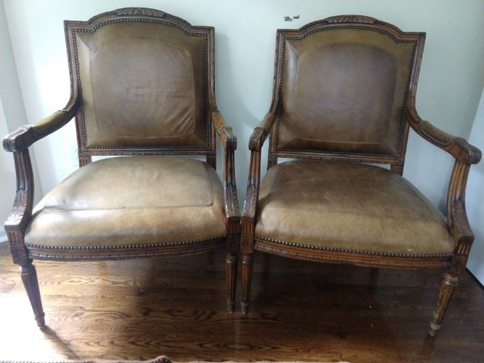 KWAZEE good pair of French leather Bergere chairs. Wouldn't you look good sitting in these.