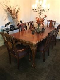 Tremendous Inlaid Dining Table and Chairs