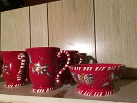 Vintage Christmas cups and bowls