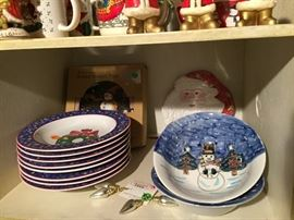 Christmas bowls and plates and cups