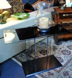 Art Deco All Glass Console Table.