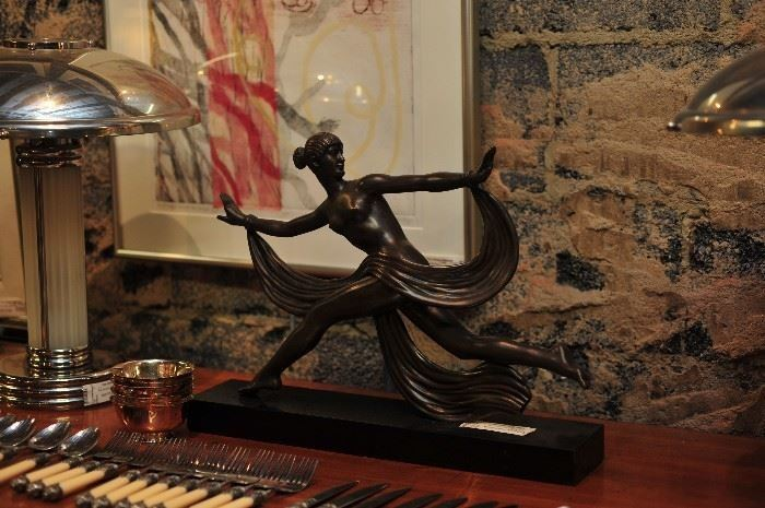 Art Deco Bronze Sculpture, Lady in Motion.