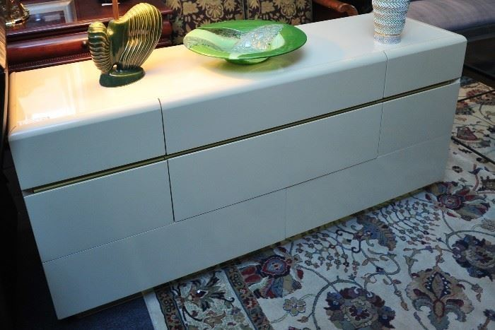 Art Deco Cream Enameled Chest of Drawers by Lane.