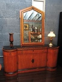 Biedermeier Inspired Buffet with Matching Mirror.