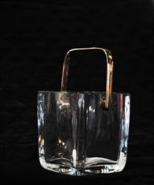 Cartier Crystal Ice Bucket with Sterling Handle.