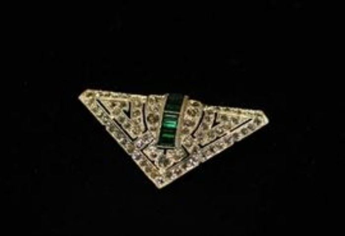 Diamond Art Deco Pin with Green Stone.