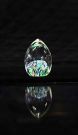 Egg Shaped Crystal With Nul Colors. Paperweight.