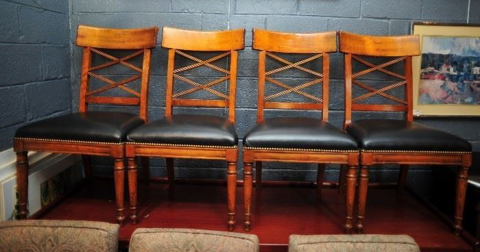 Four Italian Made Chairs with Leather Seats by Baker.