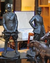 Pair of Bronze Equestrian Figures Signed.