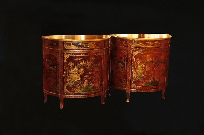 Pair of Chinese Red Gold Demilunes.