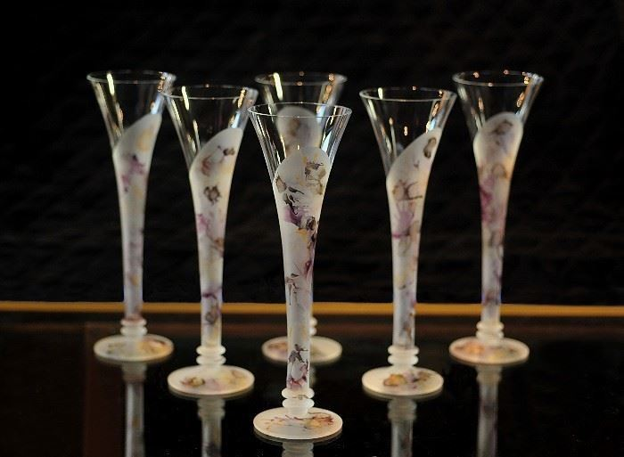 Set of 6 Polish Hand Blown Champagne Flutes.