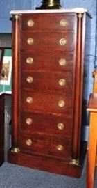 Tall Mahogany Chest with Marble Top.