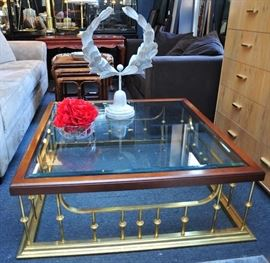 Wood Brass Glass Cocktail Table.