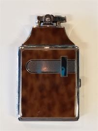 Antique Enamel & Metal Cigarette Lighter & Case.