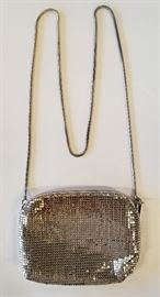 Gold Sequin Clutch With Chain.