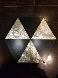 2 Nested Mother of Pearl & Black Hexagonal Storage Boxes.