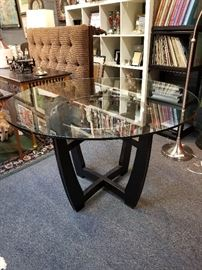 Modern Black Glass & Chrome Dining Table.