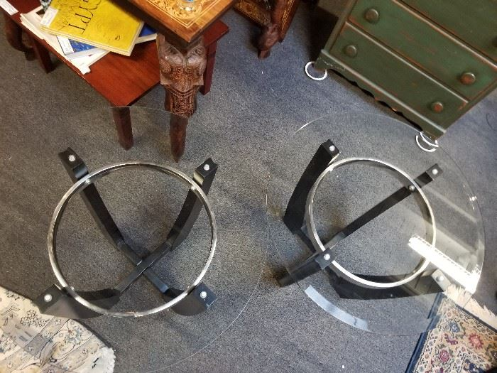 2 Modern Black Glass & Chrome Side Tables.