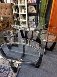 The Whole Set of Modern Black Glass & Chrome Side Tables, Cocktail Table, & Dining Table.