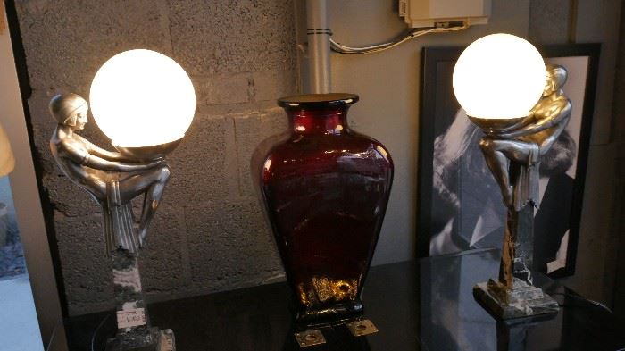 Pair of Art Deco Lamps on Marble Bases.