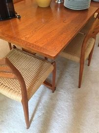 Large Danish Dining Room Set by Niels Otto Møller Teak & Papercord Model 78 1950s