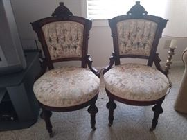 Pair of matching East Lake parlor chairs in excellent condition
