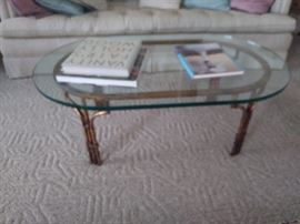 Bamboo and rattan coffee table with glass top