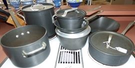Commercial Anodized cookware set, Calaphalon Pot with lid (far Right)