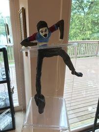 Jerome (Jerry) Stanley Soble Gotcha Bronze Art Mime Sculpture on Lucite/Acrylic. 26''H x 15'' W x 12 1/2'' D